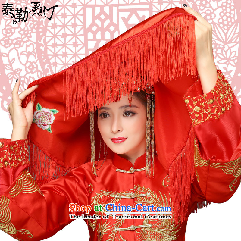 Taylor married Martin d lid peony embroidery edging macrame chinese red cap red edging)?not included S(70x70 ears)
