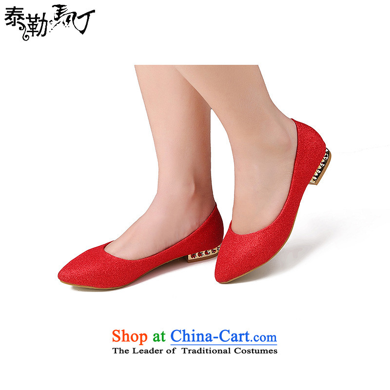 Taylor married women shoes with Martin Sau Wo Service qipao bows shoe service embroidery women shoes Red 38