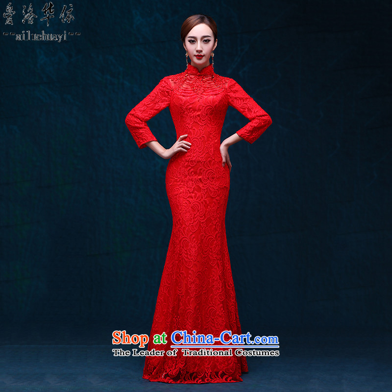 Qipao crowsfoot long red elegant beauty dress new autumn 2015 marriages bows serving a seven-banquet cuff red lace serving evening drink red燣