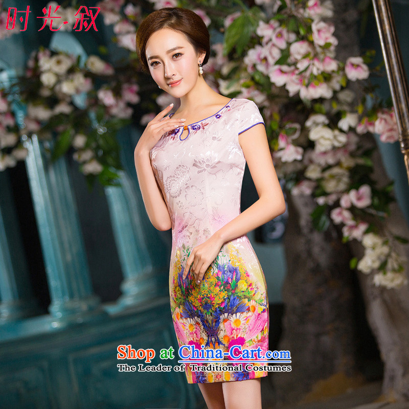 Time the new Syrian_ Autumn 2015 female modern qipao improved cheongsam dress stylish embroidered round-neck collar short-sleeved gown girl cheongsam pictures toasting champagne color M