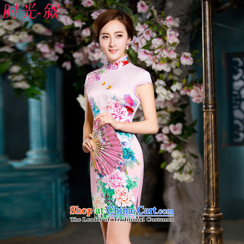 Time Syrian new autumn 2015 cheongsam with white short-sleeved improved retro daily cheongsam dress female temperament, banquet dress qipao short picture color?L