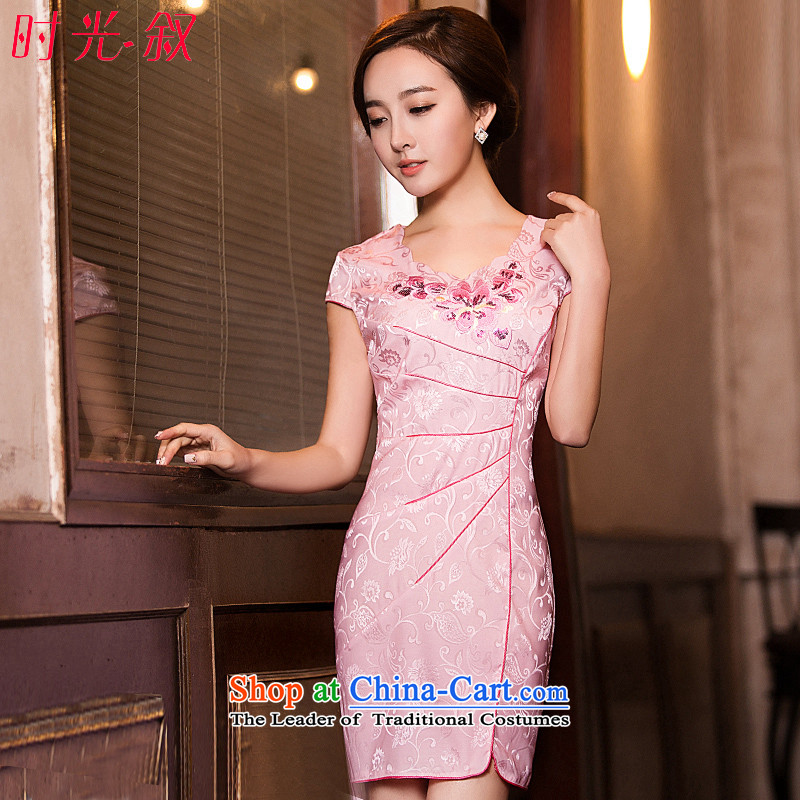 Time-to-day Syria cheongsam dress short, 2015 New cheongsam decorated in autumn and winter Ms. larger qipao skirt bows services Pink M