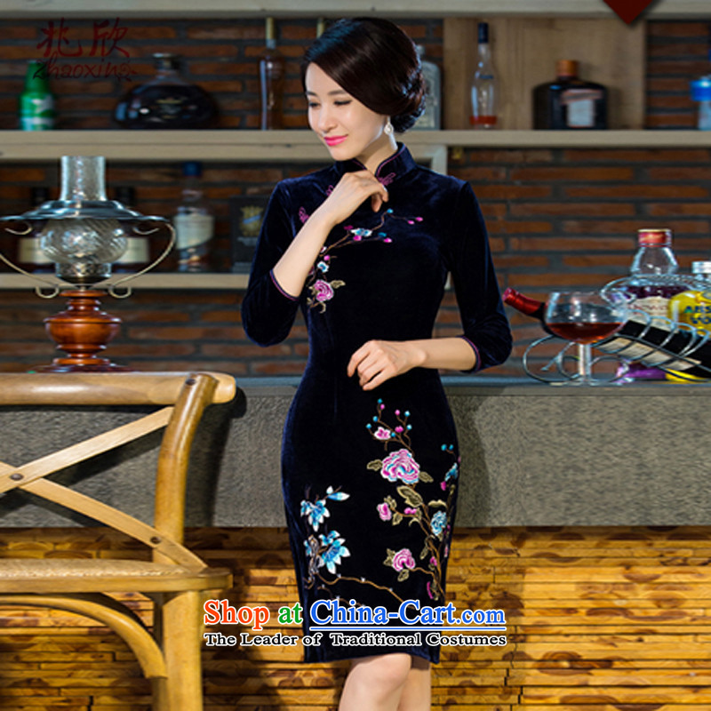 Siu Yan 2015 autumn and winter new MOM pack qipao skirt in long-sleeved retro wedding girl who temperament qipao Tibet decorated in blue?S