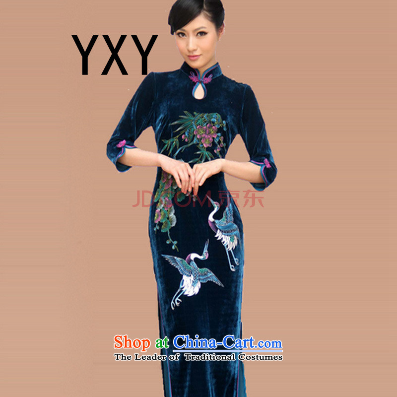 In line in China dresses cloud Long of the forklift truck hand-painted retro RXA603 qipao purple?XXXL Sau San
