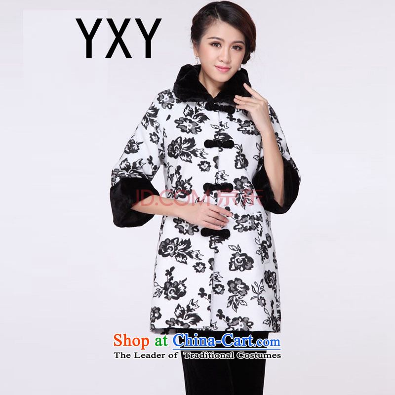 In line cloud qipao China wind cotton jacket fifth cuff gross for cotton coat RXA536 White燲L