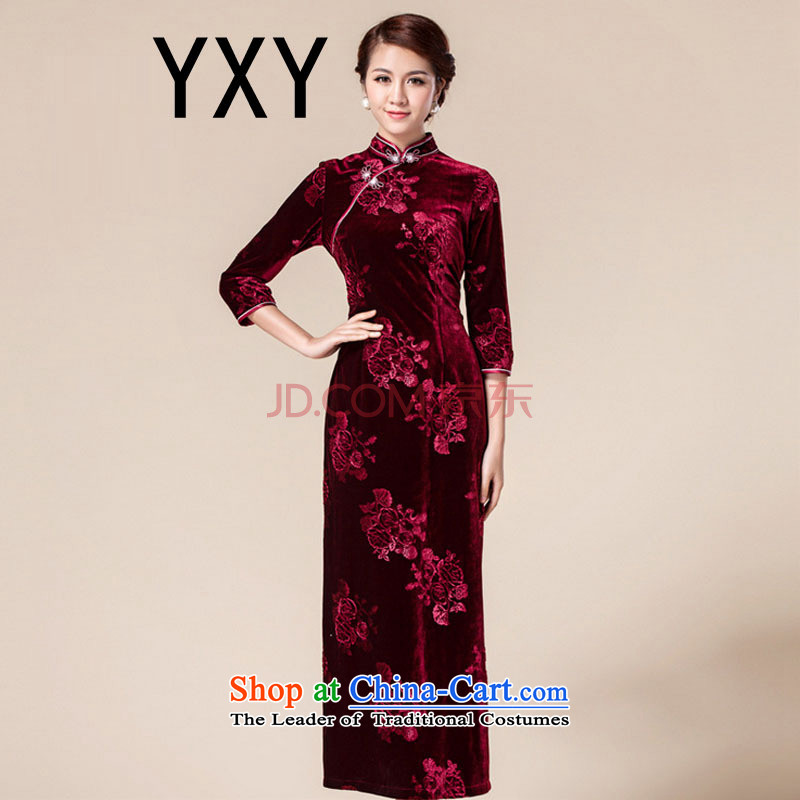 In line cloud cheongsam dress in China wind long-sleeved banquet with RXA141801 annual mother chestnut horses?XL
