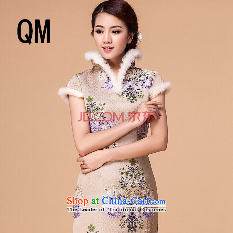 At the end of light cotton women qipao retro folder cheongsam dress cheongsam dress?RX905 short?apricot?XL