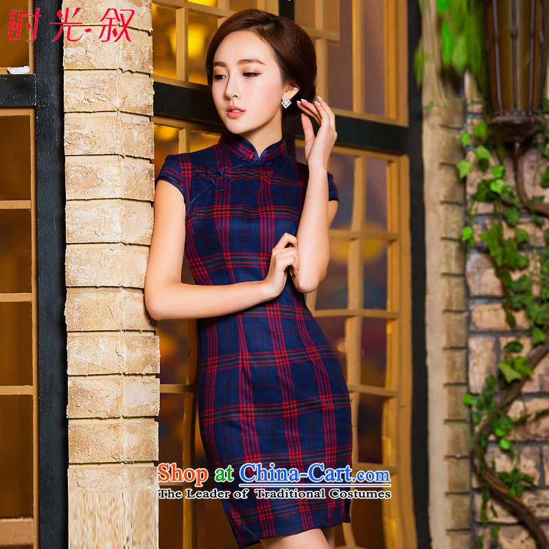 Syria Tang service hour qipao 2015 new improved daily retro literary autumn graphics thin latticed cheongsam dress short skirt the fall of qipao installed?180 M