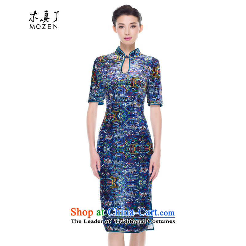 The cheongsam dress wood really fall 2015 new products long silk velvet gown improved qipao mother boxed 43088 10 Deep Blue?M