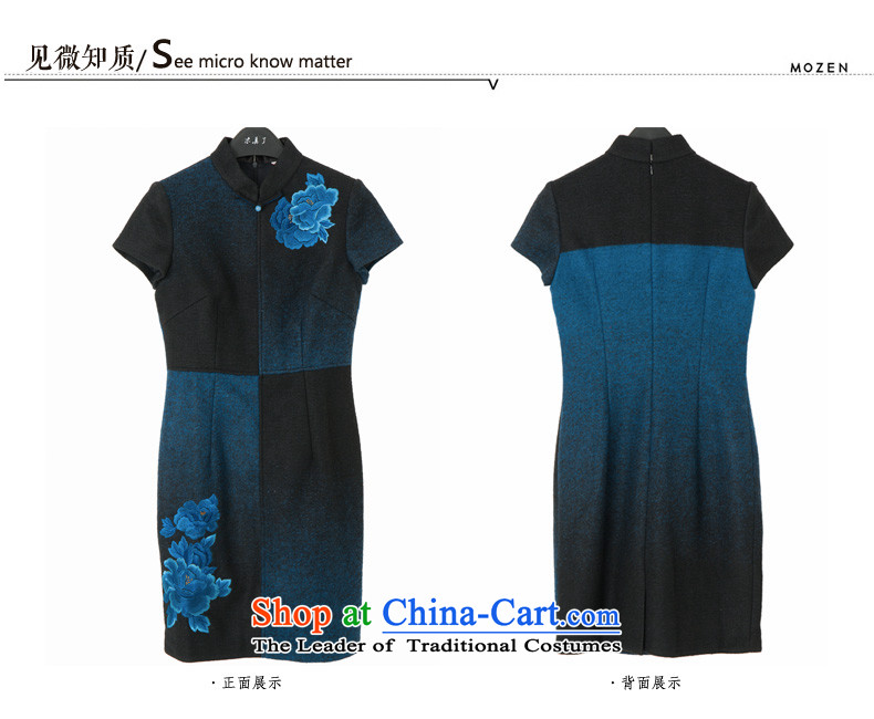 The Chinese women's really replace Embroidery Apron, extra thick wool qipao improved female skirt 2015 Autumn new products 43178 10 Blue聽M picture, prices, brand platters! The elections are supplied in the national character of distribution, so action, buy now enjoy more preferential! As soon as possible.