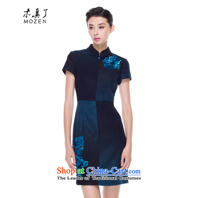 The Chinese women's really replace Embroidery Apron, extra thick wool qipao improved female skirt 2015 Autumn new products 43178 10 Blue燤
