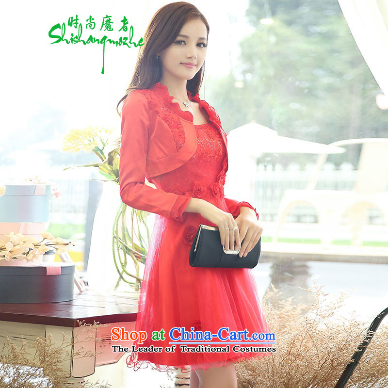 Devil of the 2015 autumn stylish new dresses with two kits of Sau San video thin bride services wrapped chest embroidery dresses marriage bows dress female red�72燫ed燲L