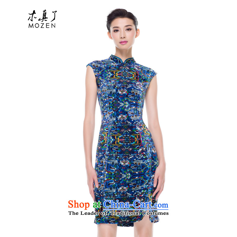 The cheongsam dress wood really fall 2015 new products silk velvet gown mother improved qipao l Load 43072 10 deep blue?S