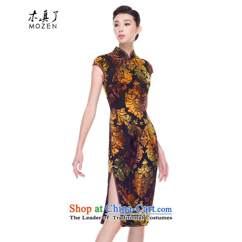 The cheongsam dress wood really fall 2015 new products dress gold really improved qipao mother with velvet 53356 13 Light yellow?S