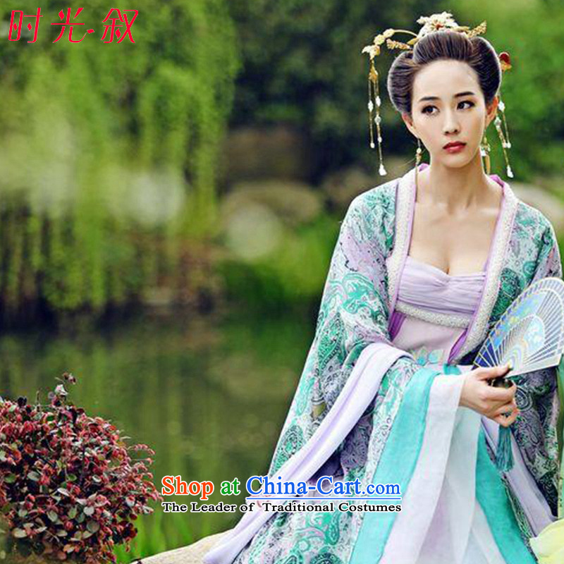 Time Syrian Wu girls costume of the Tang Dynasty Odalisque Apparel clothing intrigues Ancient Costume classical Fairy Maidens odalisque skirt Xu Hui style floor are suitable for 160-175cm code