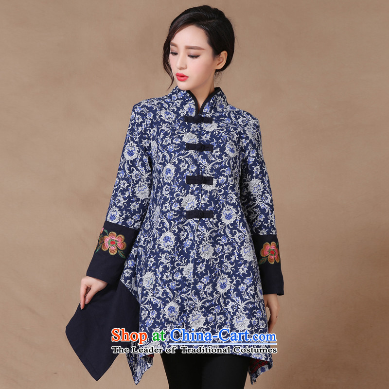 Korea first visited the�spring and fall 2015 new ethnic women in long shirts cotton linen Chinese Antique stitching embroidery long-sleeved sweater navy�M