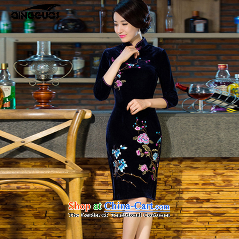2015 Autumn and Winter Fruit new moms with scouring pads in the skirt qipao Kim sleeve length_ Improved retro wedding Blue聽M