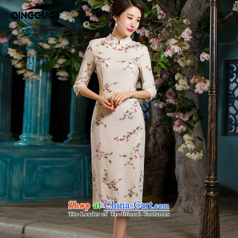 Fruit 2015 Autumn replacing retro in thin cuff Sau San video larger improved linen long skirt qipao day lilies?L