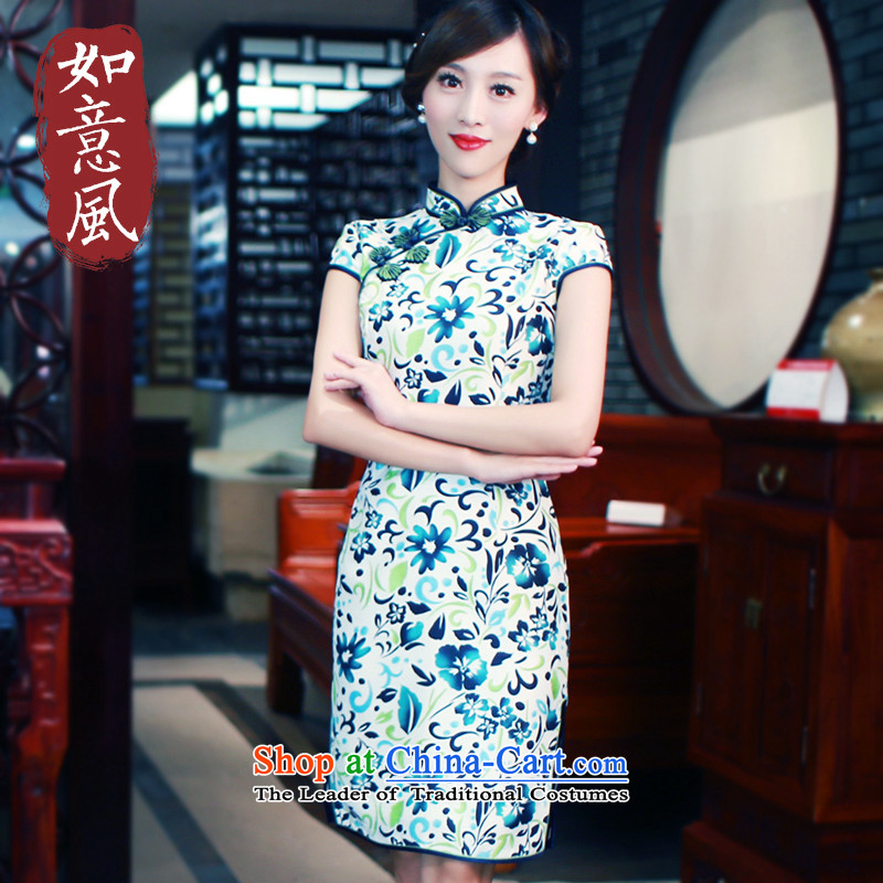 After a?new 2015 wind load spring and autumn day-to-graphics qipao thin stylish retro improved dresses cheongsam dress 5,705 5,705 Ms. suit?XL