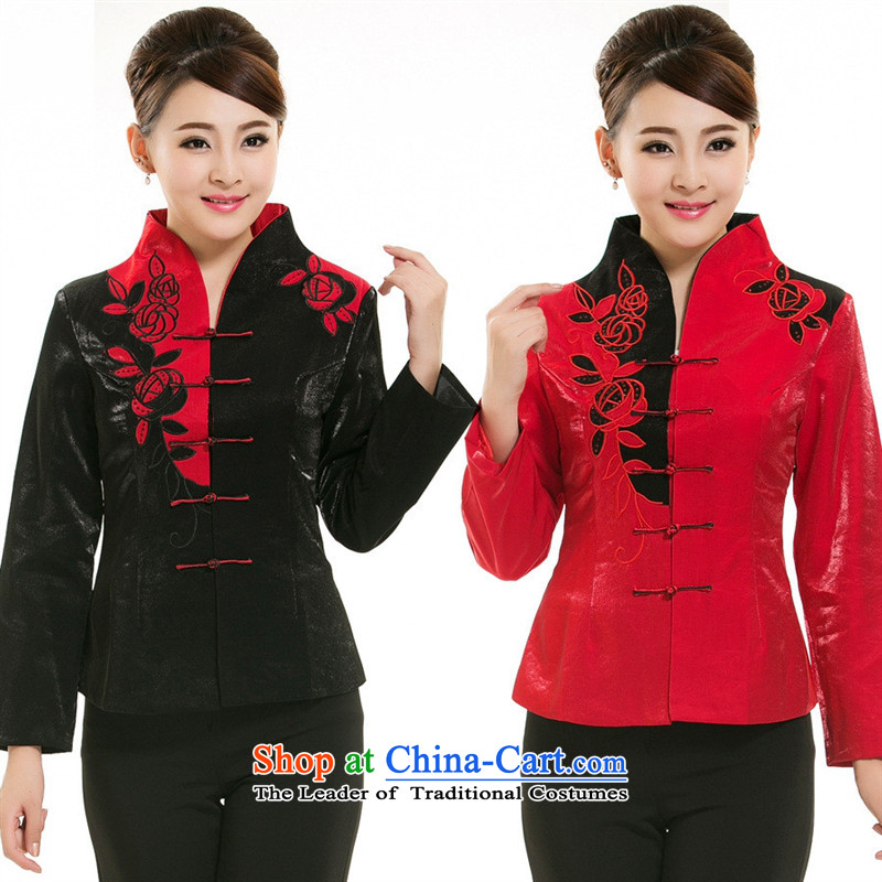 The hotel-hwan Workwear Fall/Winter Collections teahouse restaurant workers working dress tea technician Tang dynasty women's long-sleeved red black M