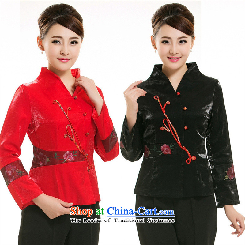 Mano-hwan, Tang dynasty tea Green tea art long-sleeved clothing Hotel Fall_Winter Collections female attendants at the tea party red uniform of the Tea House聽XXXL