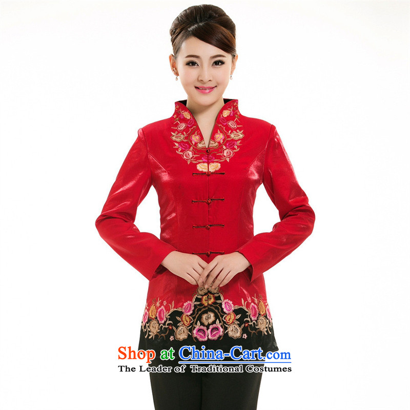 The hotel's restaurant-hwan for autumn and winter clothing in women's clothes long Tang Red tea house tea art attendants workwear red�XXL