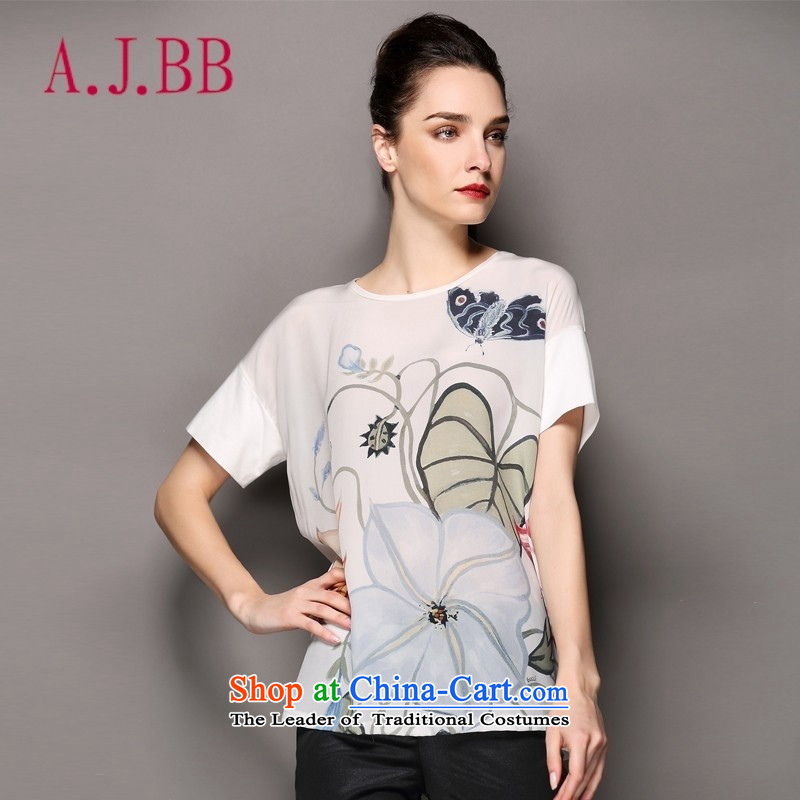 Only the 2015 summer attire vpro new t-shirts european style of lotus flowers site loose fit short-sleeved T-shirt silk KB03 female white�S