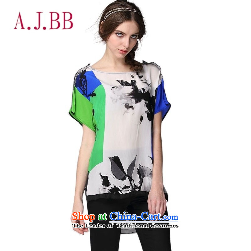 Vpro only 2015 herbs extract summer clothing relaxd dress shirt ink painting silk short-sleeved T-shirt picture color?M