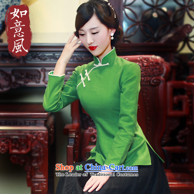 After a day of Tang dynasty women in spring and autumn wind load Chinese female tray clip cotton linen dress in hand-painted a long-sleeved shirt qipao 5806 5806 Grass green L