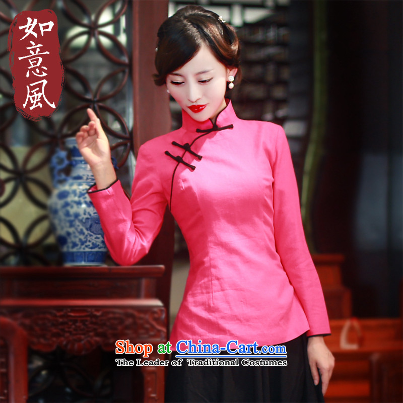 After the爁all of 2015, the Wind new boxed Tang Women's clothes long-sleeved clothing ethnic cotton linen CHINESE CHEONGSAM Dress Shirt 5808 5808 in red燲XL