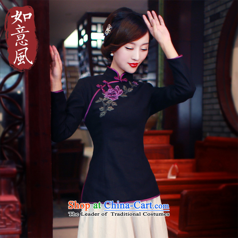 Ms. Tang dynasty wind ruyi summer pure color Chinese tea art clothing improved long-sleeved qipao cotton linen clothes was 5 809 was 5 809 suit?XL