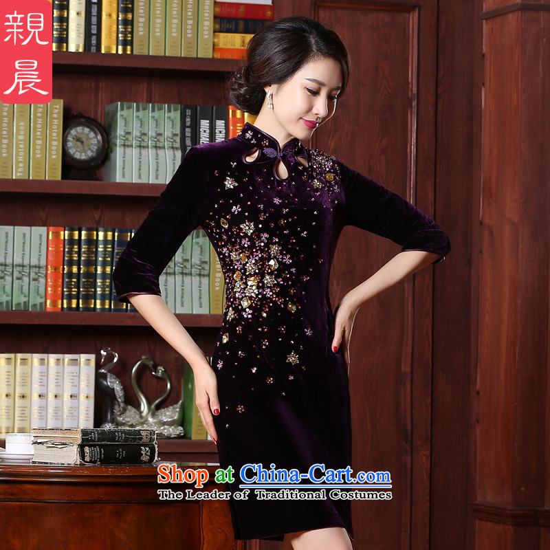 Kim scouring pads cheongsam dress the summer and autumn of 2015 the new wedding dress wedding MOM pack retro improvement older short skirt, purple 2XL