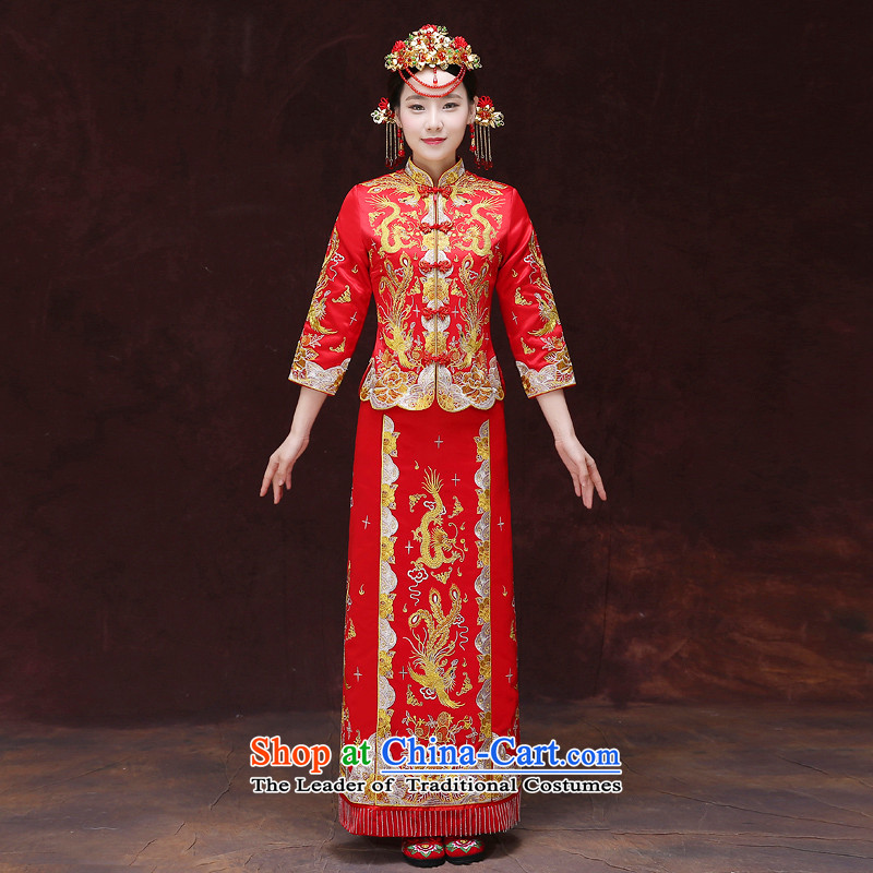 Tsai Hsin-soo wo service of the dragon and the use of Chinese Dress brides use skirt bows chief qipao Summer Wedding Gown retro-hi-bong-Koon-hsia longfeng use previous Popes are placed燤 chest 88
