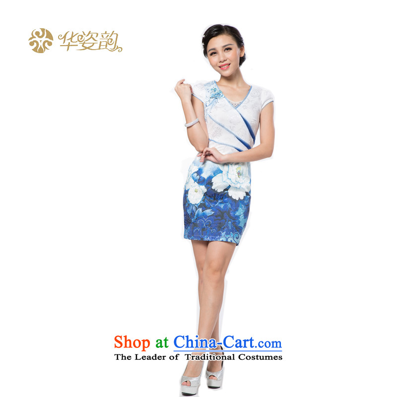 China following the new 2015 Gigi Lai summer blue qipao retro style qipao improved graphics Sau San thin cheongsam dress female qipao improved light blue?S