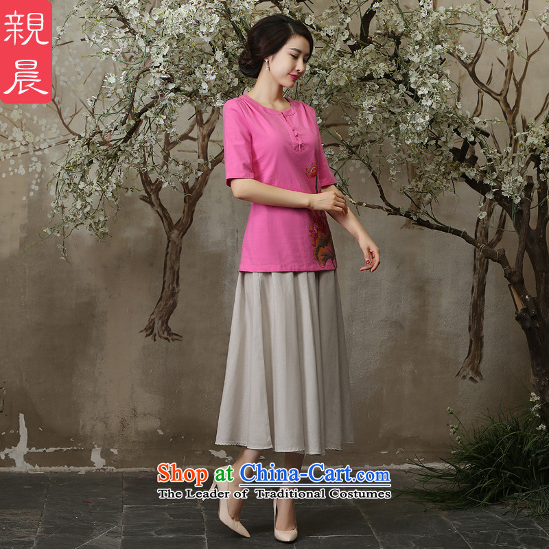 The new improved qipao shirt in summer and autumn 2015 Ms. replacing Tang dynasty daily larger cotton linen dresses in sleeved shirt + M white dress�XL