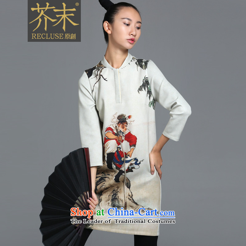 �� mustard original health days/China wind align the original personality stamp cheongsam dress female autumn and winter long-sleeved cheongsam dress autumn new white spot?XL