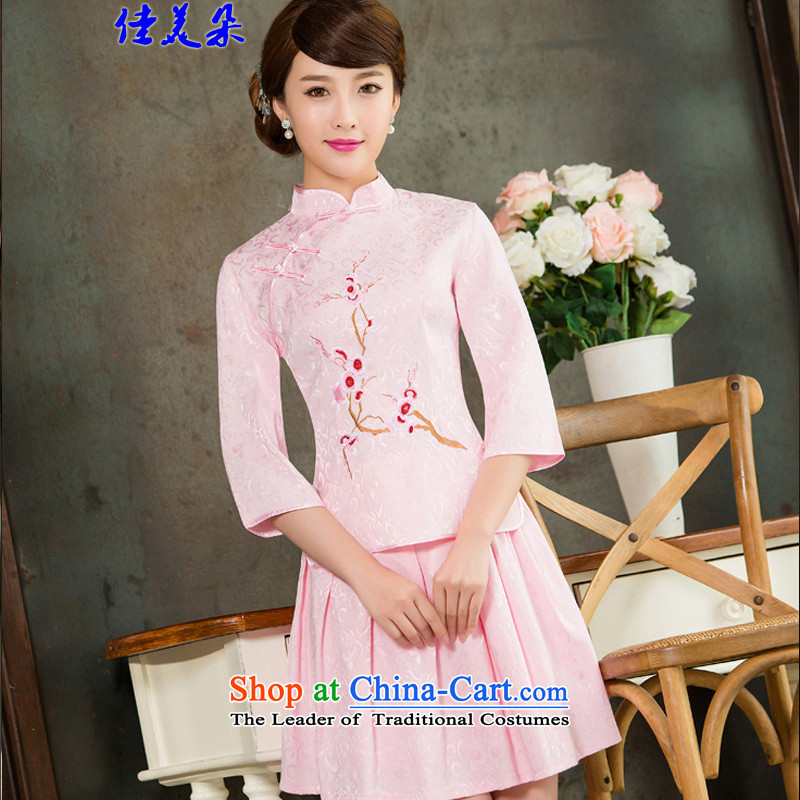 Jia Mei flower   spring and summer 2015 new daily cheongsam dress retro style two kit B Pink Sleeves in cuff 1125 XL