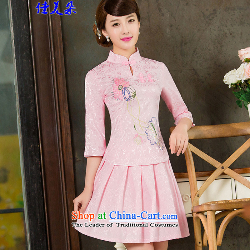 Jia Mei flower   spring and summer 2015 Women's new daily long-sleeved Stylish retro qipao two kit B cuffs Pink Sleeves in 1121 XXL