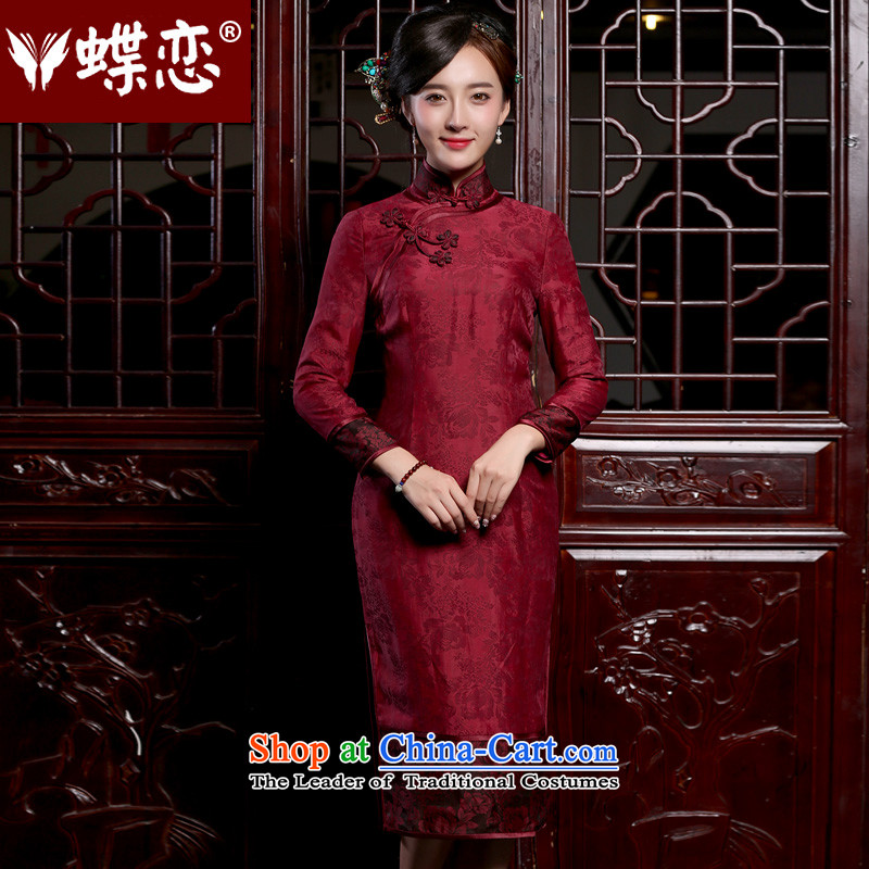 Butterfly Lovers 2015 Autumn New) retro long silk cheongsam dress improved long-sleeved daily qipao figure?XL