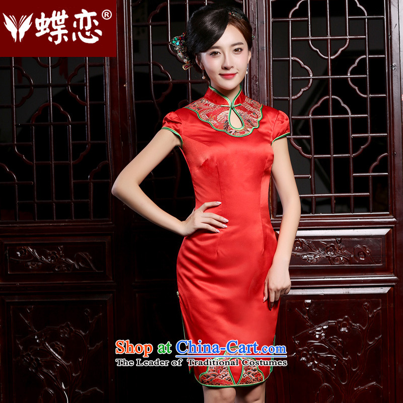 The Butterfly Lovers the summer and autumn of 2015, replacing the new improved stylish short, bows to marriages qipao gown red - pre-sale 7 days?XS