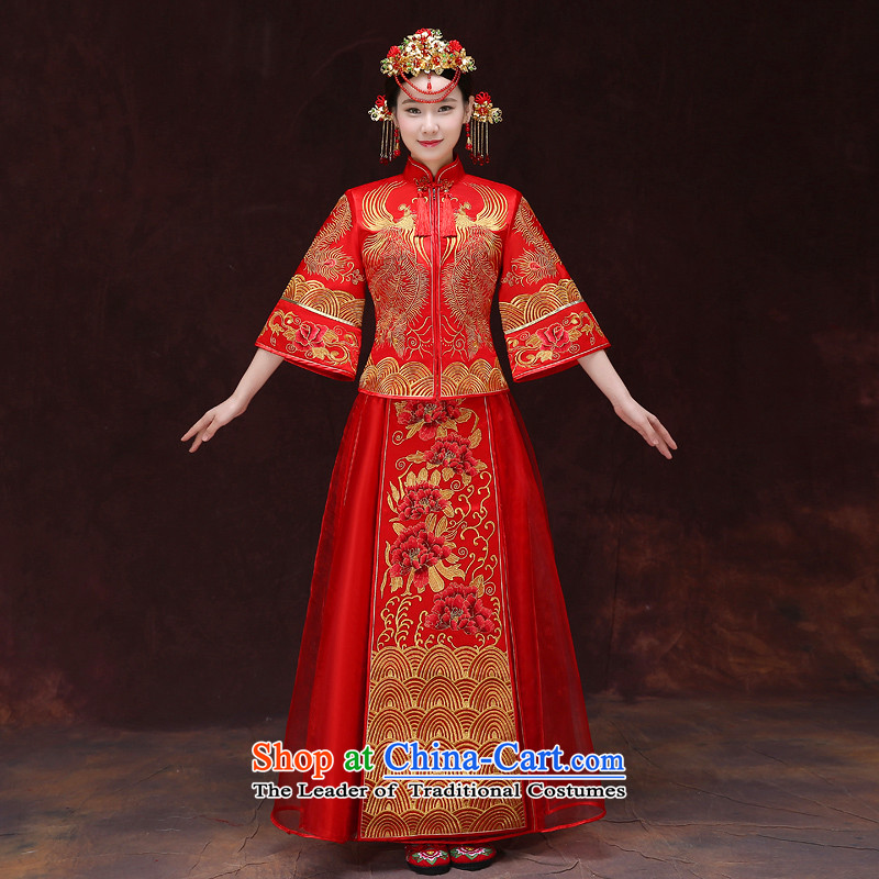 Tsai Hsin-soo Wo Service dream new retro Chinese wedding dresses bows services use Bong-sam Hui Har dragon costume show previous Popes are placed kimono wedding dress uniform set of clothes-hi?M chest 88