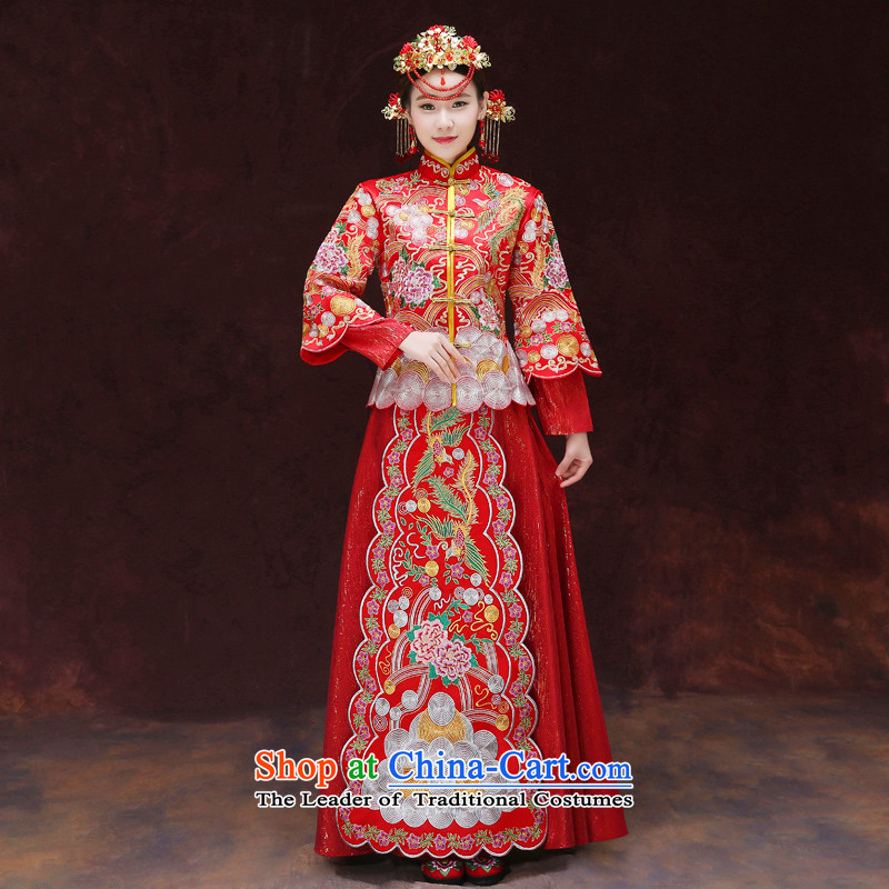 Tsai Hsin-soo Wo Service dream Chinese classics wedding gown serving southern new bride bows to the dragon spring and summer services use marriage qipao Bong-Koon-hsia previous Popes are placed a set of clothes?chest 88 M