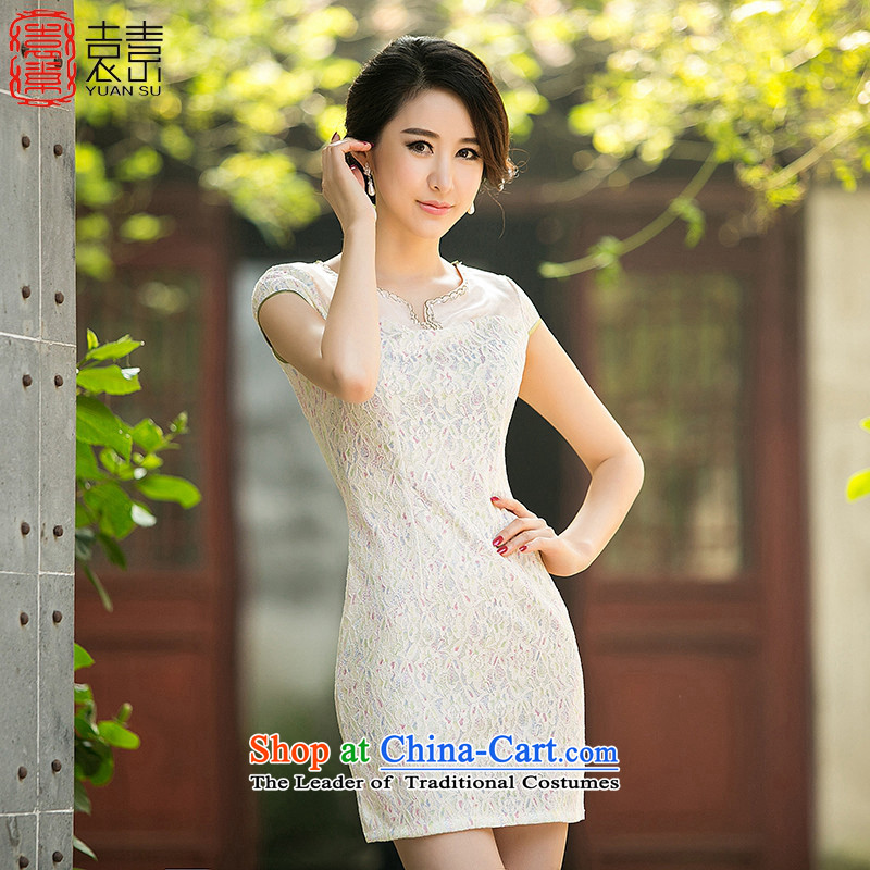 Mr YUEN of Teresa Mo daily lace recalls that the stylish new skirt qipao retro qipao summer improved cheongsam dress female Z 029 picture color M