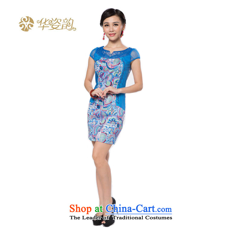 The following summer Gigi Lai Hua new women's Stylish retro graphics thin temperament Sau San Korean Foutune of engraving lace stamp cheongsam dress Sau San video thin China wind light blue�M