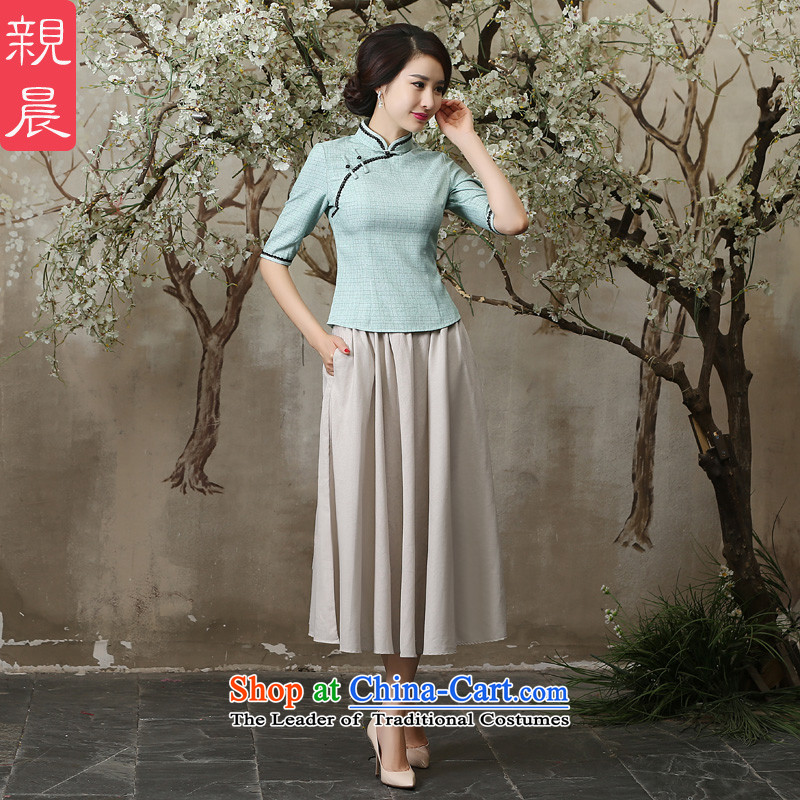 The pro-am new clothes in summer and autumn 2015 cheongsam with daily Chinese Antique Tang Dynasty Han-improvement sleeved shirt + M white dress XL