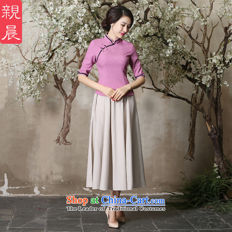 The pro-am cheongsam dress the summer and autumn of 2015 the new boxed Ms. Tang Dynasty Chinese daily improved cotton linen clothes in sleeved shirt + m White Dress?2XL
