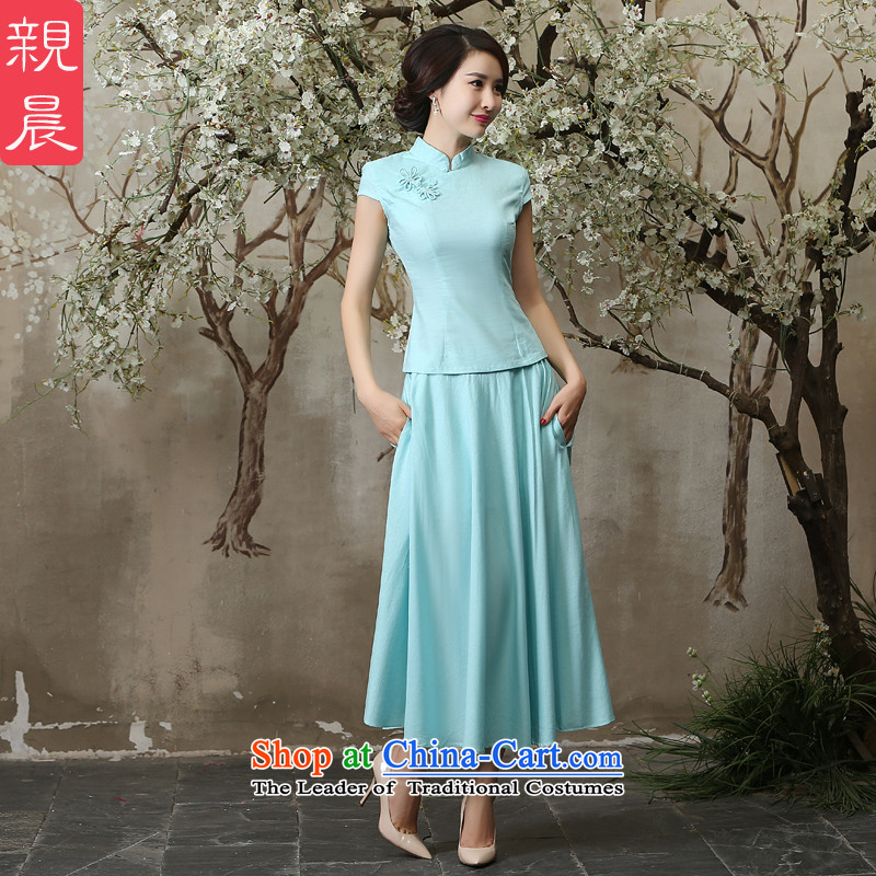 The pro-am new cotton linen clothes summer qipao 2015 Ms. daily maximum code linen improved cheongsam dress shirt + light blue skirt in 2XL