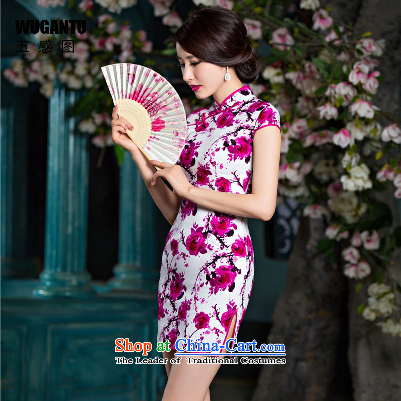 The five senses figure in spring and summer new daily fashion dresses retro improved elegance suit short qipao picture color Sau San XL