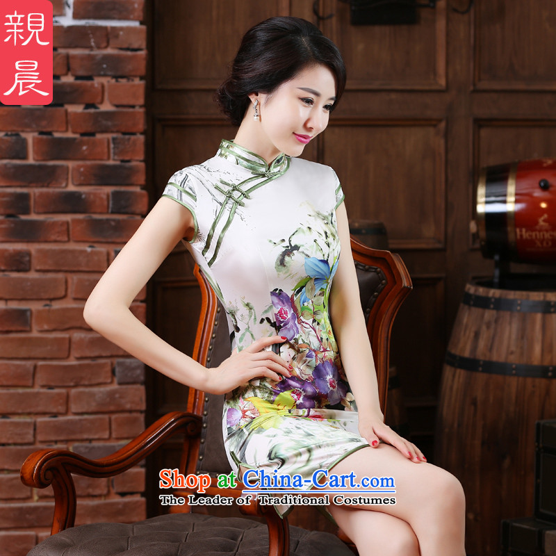 The pro-am daily improved cheongsam dress new summer 2015, Large Chinese Antique short of qipao short skirt_ 2XL