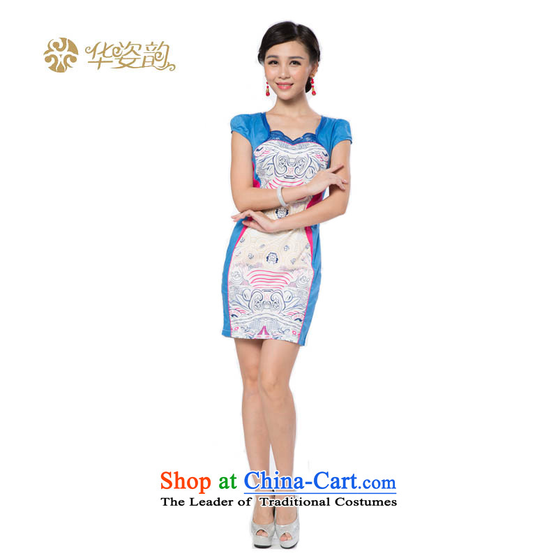 The following summer Gigi Lai Hua qipao stylish girl improved embroidery retro qipao Sau San dresses embroidery dresses qipao improved light blue?M